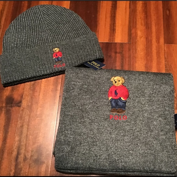 3fabc2be1839 Polo Ralph Lauren Collectable Navy Blue Teddy Bear Scarf Beanie Hat Set NWT